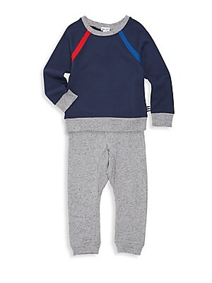 Image of Soft French terry cotton sweatshirt and jogger pant set is playtime perfect. Cotton. Delicate wash. Imported. SWEATSHIRT Crewneck Long raglan sleeves Pullover style Banded hem SWEAT PANT Drawstring waist Two front pockets Pull-on style Banded cuffs. Child
