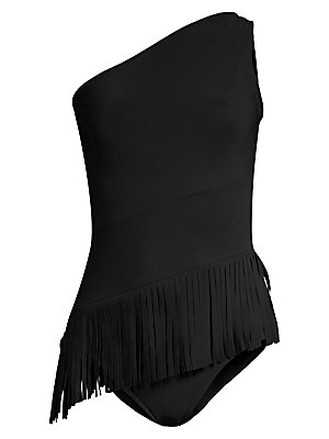 Image of A playful fringed skirt adds movement to this swimsuit, mirroring its asymmetric neckline. One-shoulder neckline Pull-on style Fringe skirt overlay Polyamide/elastane Machine wash Made in Italy. Outerwear And S - Designer Swimwear. Chiara Boni La Petite R
