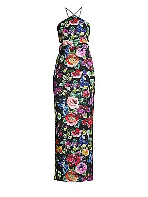 """Image of Alluring side cutouts elevate the flattering column shape of this long halter dress patterned in romantic floral. Halterneck Sleeveless Spaghetti straps Concealed back zip Halterback Polyester/spandex Dry clean Imported SIZE & FIT About 50"""" from shoulder"""
