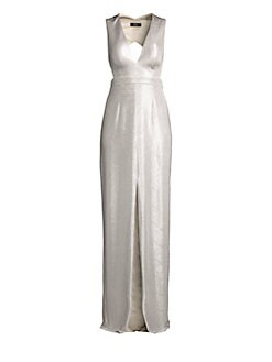 b6a88093e3 QUICK VIEW. Aidan Mattox. Metallic Cutout Column Gown