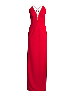 Image of An elegant yet scene-stealing piece, this floor-skating column gown flaunts alluring back cutouts and a daring side slit. Plunging neck Sleeveless Spaghetti straps Concealed back zip Back silvertone hardware Polyester/spandex Dry clean Imported SIZE & FIT