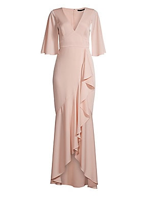 Image of A fluid ruffle dips from the waist down to the flounced hemline of this low-luster satin dress, adding movement which is echoed by the slit flutter sleeves. V-neck Three-quarter slit flutter sleeves Concealed back zip closure Empire waist Ruffle detail As