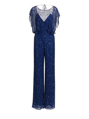 Jenny Packham Hayworth Beaded Short Sleeve Jumpsuit