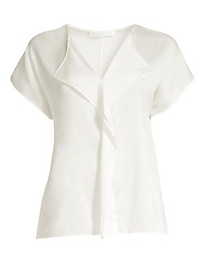 """Image of A minimalist ruffle extends down from the neckline of this stretch silk blouse. V-neck with ruffle detail Cap sleeves Pullover style Silk/elastane Hand wash Imported SIZE & FIT Relaxed silhouette About 25.25"""" from shoulder to hem Model shown is 5'10"""" (177"""