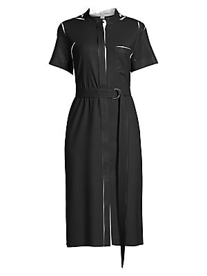 """Image of Airy buckle belted dress with contrast graphics make this a truly contemporary piece. Bib collar Short sleeves Concealed button front Chest patch pockets Adjustable buckle belted waist Polyester Dry clean Imported SIZE & FIT A-line silhouette About 43.3"""""""