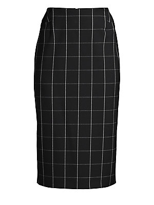 """Image of An allover windowpane check enhances the crisp appeal of this below-the-knee pencil skirt. Banded waist Concealed back zip closure Lined Polyester/viscose/elastane Reduced dry clean Imported of Portuguese fabric SIZE & FIT Pencil silhouette About 30"""" long"""