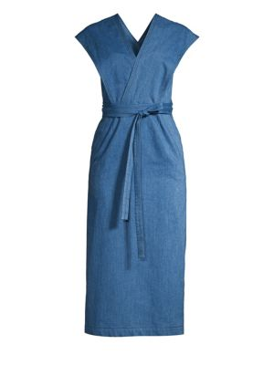 Derek Lam Sleeveless Chambray Wrap Midi Dress