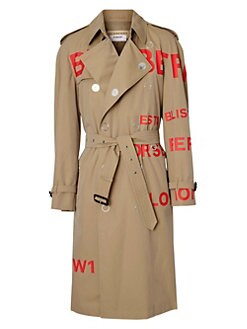 Burberry. Logo Double-Breasted Snap Trench Coat 2cd674720