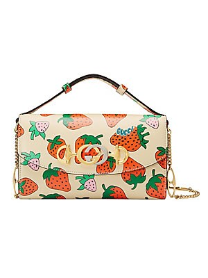 Mini Borghese Strawberry Leather Shoulder Bag by Gucci