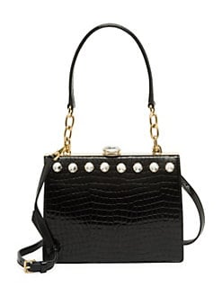 cc84563cd48e Solitaire Embossed Leather Shoulder Bag BLACK. QUICK VIEW. Product image