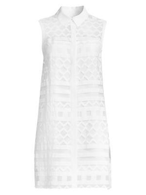Milly Dresses Graphic Devore Sleeveless Shirtdress