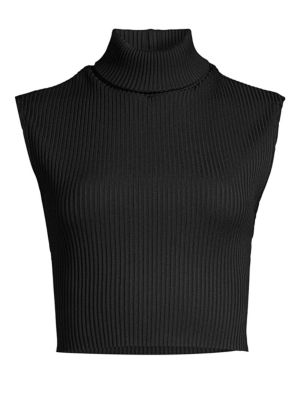 MILLY Ribbed Crop Turtleneck