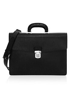 69bb9fa495b6 Revival 3.0 Crocodile Leather-Handle   Leather Briefcase BLACK. QUICK VIEW.  Product image