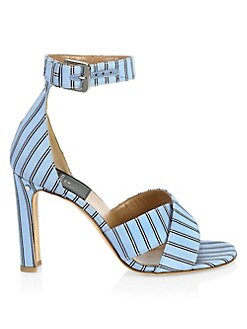 81ea5d6d788 Laurence Dacade. Thilan Striped Silk High-Heel Sandals