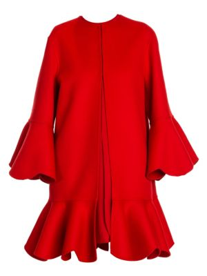 Valentino Pano Double Flounce Coat