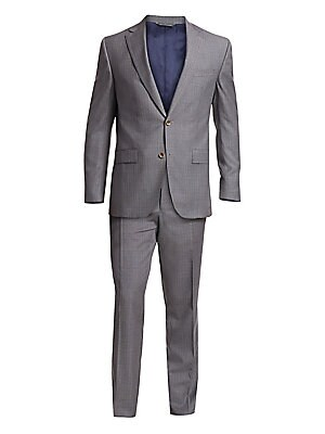 Image of ONLY AT SAKS. Suiting jacket styled in soft wool fabric with subtle woven texture. Wool. Dry clean. Made in Canada. JACKET Notch lapels Long sleeves Two-button front Chest welt pocket Waist flap pockets Lined PANTS Button/zipper fly Straight leg SIZE & FI