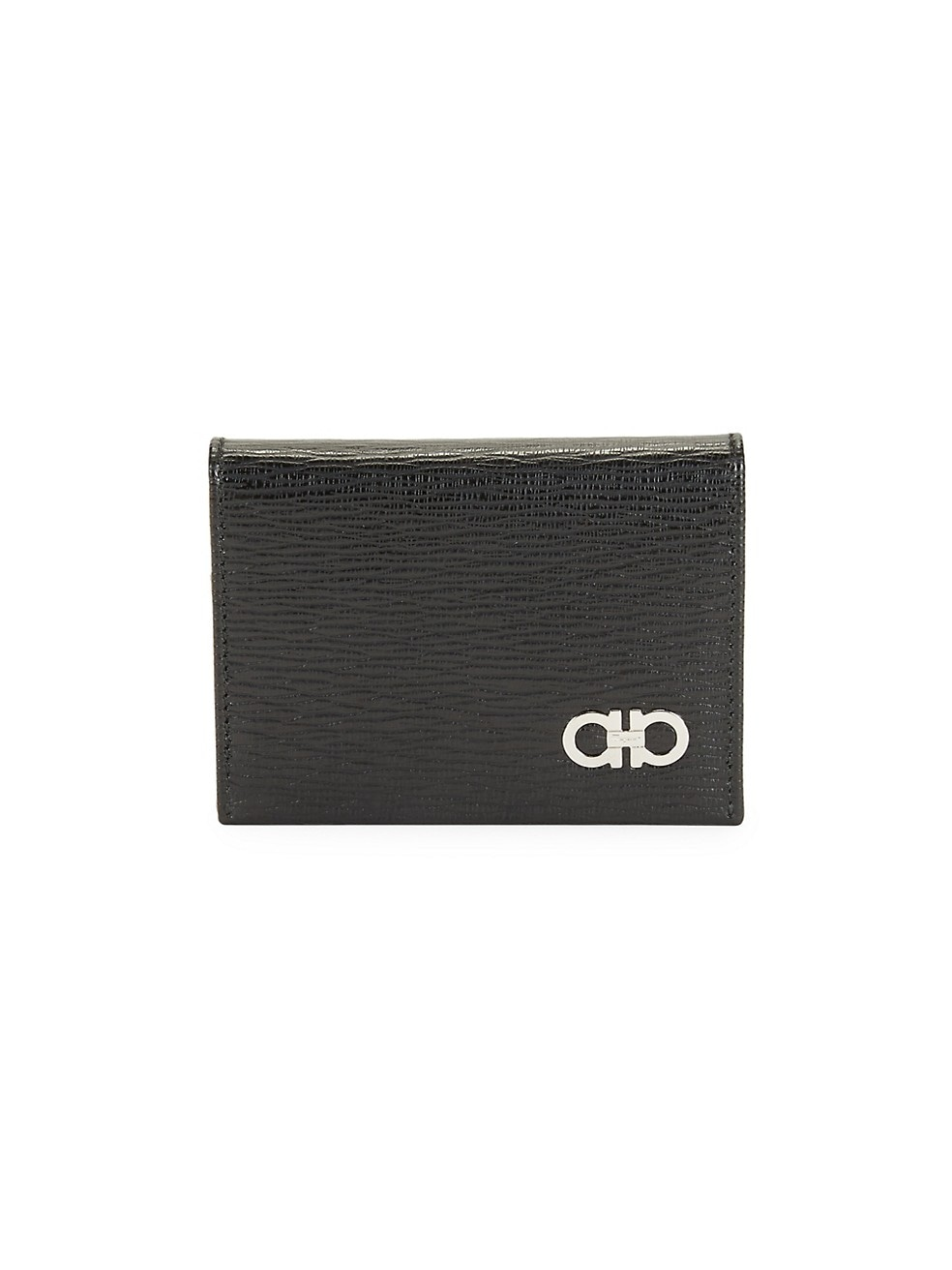 페라가모 Salvatore Ferragamo Revival Gancino Textured Leather Card Case,RED BLACK FERRAGAMO