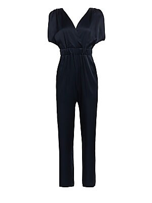 Image of A beautifully glossy jumpsuit with plunging V-back has an alluring touch. Elegant styling and a faux wrap silhouette offers a quirky take on evening wear. Surplice neckline Short ruched sleeves with splits Gathered waist with self-tie belt Waist slash poc