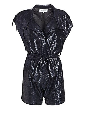 """Image of Dazzling sequins transform this romper into a statement evening piece. Mockneck Cap sleeves Concealed button front Self-tie waist Sequin finish Polyester Dry clean Made in France of Italian fabric SIZE & FIT Inseam, about 3"""" About 30"""" from shoulder to hem"""