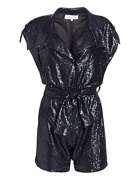 Allover Sequin Shirt Romper