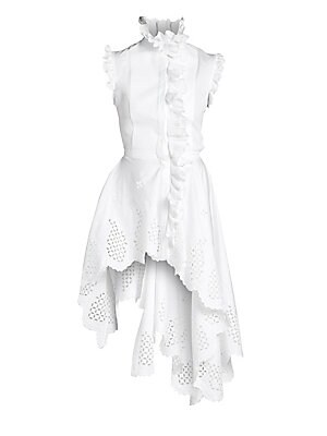 "Image of A cascading peplum hem brings stylish glamor to this Italian cotton show top. Cut-out detail and ruffle trim brings textual definition. Ruffle stand collar Sleeveless Button front Asymmetric hem Cotton Dry clean Made in Italy SIZE & FIT About 28"" - 41"" fr"