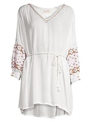 370f4319e81eb ViX by Paula Hermanny - White Embroidered Tunic - saks.com