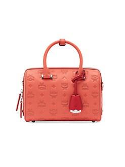 QUICK VIEW. MCM. Essential Monogrammed Leather Boston Bag 25c1ac4ca3