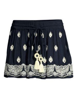 Ramy Brook Skirts Avi Pleated Embroidery Skirt