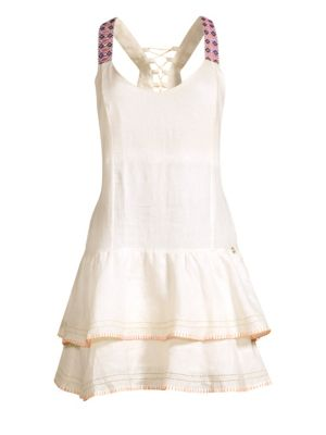 Ondademar Linen Tiered Hem Dress