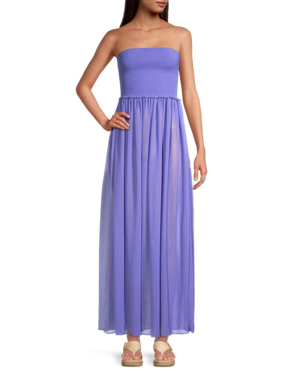 Ramy Brook Calista Smocked Strapless Flare Dress   SaksFifthAvenue