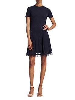 4e4730d461a Short Sleeve Pleated Skirt Dress BLUE · Product image. REDValentino