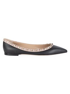667230e066db6 QUICK VIEW. Valentino Garavani. Rockstud Leather Point Toe Ballerina Flats
