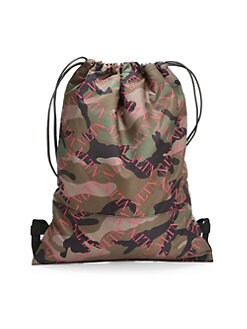b593296752 Valentino Garavani. Camo Nylon Army Drawstring Backpack