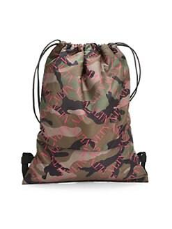 Valentino Garavani. Camo Nylon Army Drawstring Backpack 07f534a294c0b