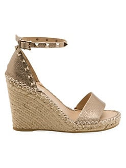 3e529959c05 Rockstud Double Metallic Leather Platform Wedge Sandals SKIN. QUICK VIEW.  Product image