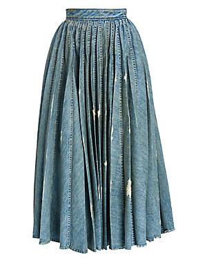 Denim Pleated Midi Skirt by Miu Miu