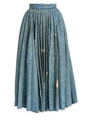Denim Pleated Midi Skirt by Miu Miu