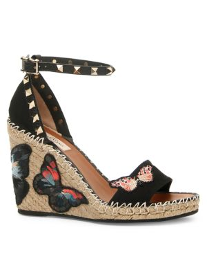 Valentino Garavani Rockstud Double Cotton Butterfly Espadrille Wedge Sandals