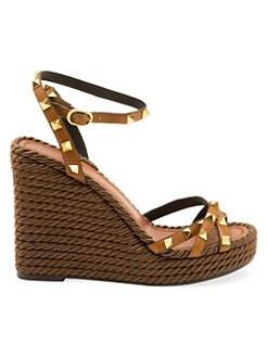 5d47a098af3 Product image. QUICK VIEW. Valentino Garavani. Rockstud Torchon Espadrille  Wedge Sandals