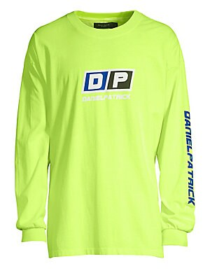 """Image of Classic cotton crewneck long-sleeve with graphic finish. Crewneck Long sleeves Pullover style Rib-knit trim Cotton Machine wash Made in USA SIZE & FIT About 27"""" from shoulder to hem. Men Adv Contemp - Trend Collections. Daniel Patrick. Color: Citrus Lime."""