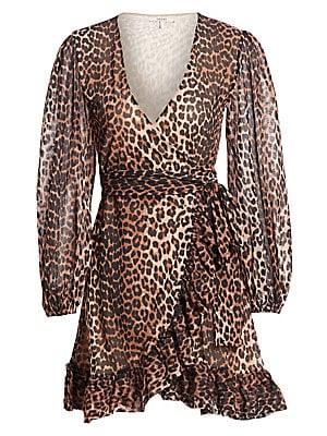 236ae8363 GANNI - Leopard Print Mini Wrap Dress - saks.com