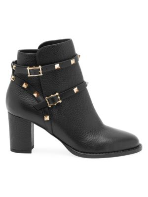 Valentino Rockstud Leather Ankle Boots In Black