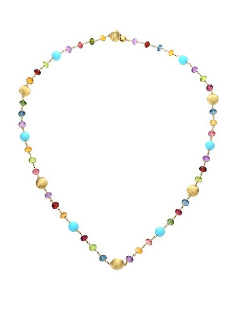 Africa 18K Gold Multi-Color Gemstone Bead Necklace