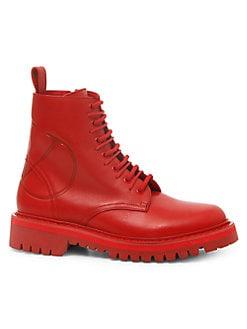 b66668f28e4 Valentino Garavani. Go Logo Leather Combat Boots