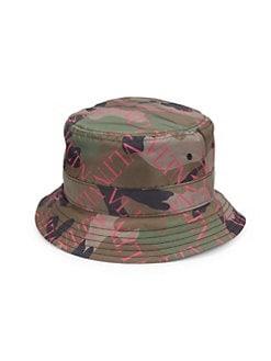 Valentino Garavani. Logo Camo Bucket Hat 4136789a5db