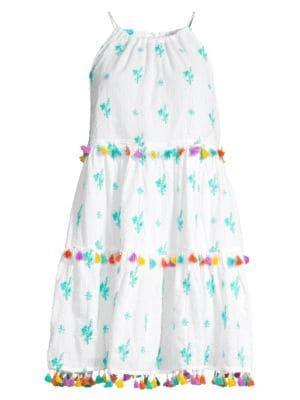 Tessora Sydni Multicolor Floral Embroidered Tassel Shift Dress