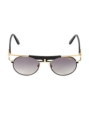 Image of Goldtone aviators enhanced with a geometric brow bar. 100% UV protection Grey lenses Adjustable nose pads Case and cleaning cloth included Acetate/metal Made in Germany SIZE 50mm lens width 21mm bridge width 140mm temple length. Men Accessories - Men Sung