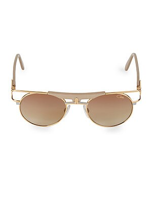 Image of Goldtone aviators enhanced with a geometric brow bar. 100% UV protection Brown gradient lenses Adjustable nose pads Acetate/metal Made in Germany SIZE 50mm lens width 21mm bridge width 140mm temple length. Men Accessories - Men Sunglasses > Saks Fifth Ave