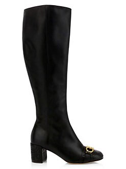 95b378f4f5d2 Lilla Leather Block-Heel Knee Boots BLACK. QUICK VIEW. Product image
