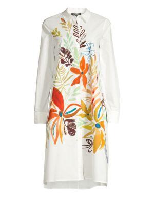 Lafayette 148 Dresses Porto Fiore Print Cotton Shirt Dress